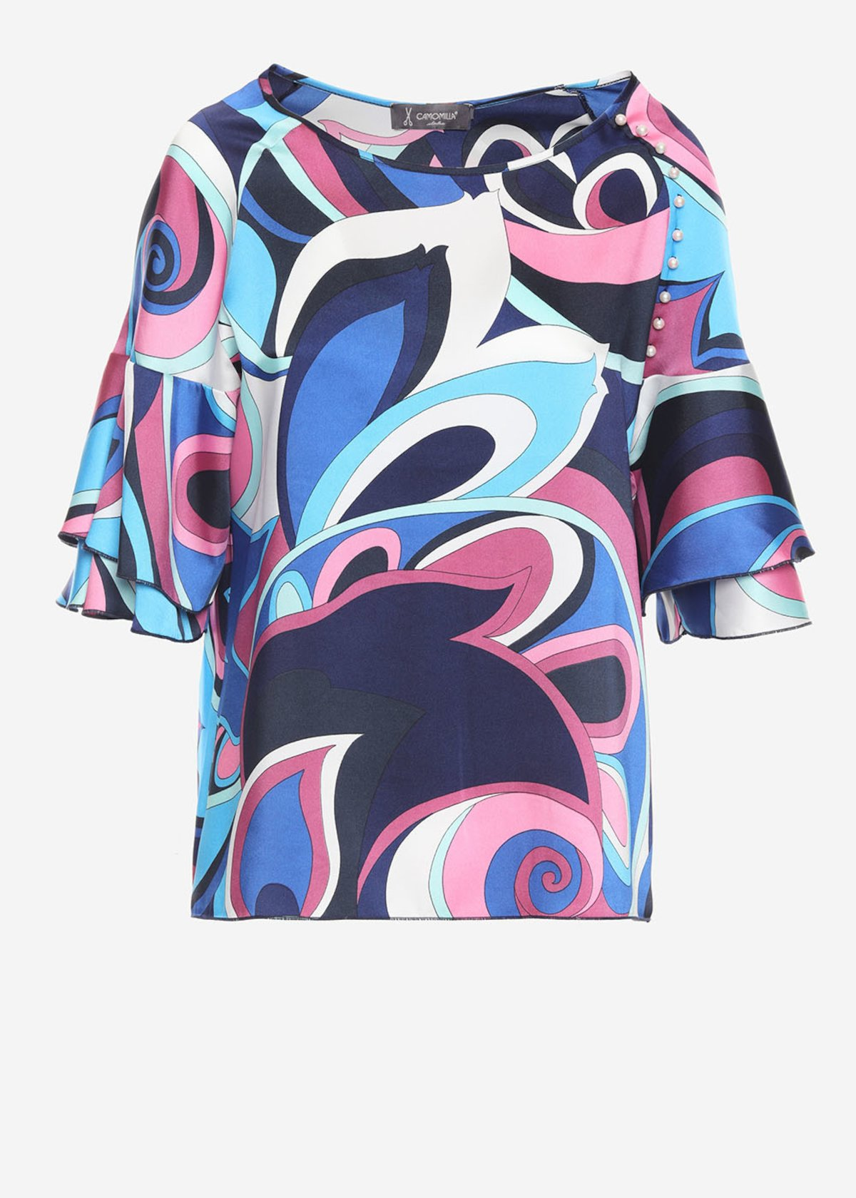 Sofia twill t-shirt with geometric print - Aquarius / Paradise Fantasia
