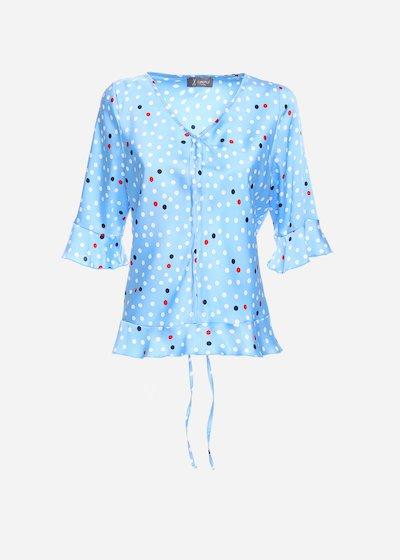 Samuela twill  t-shirt in polka dot with V-neck