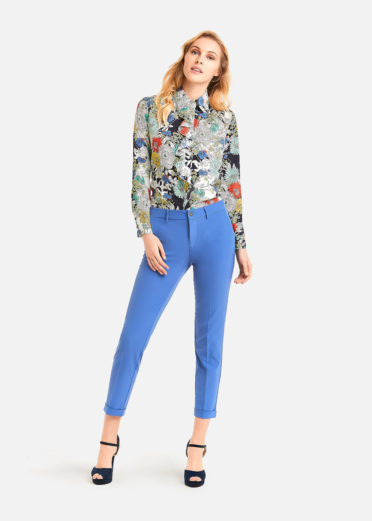 Carina shirt flower bang pattern - White /  Lemon Fantasia