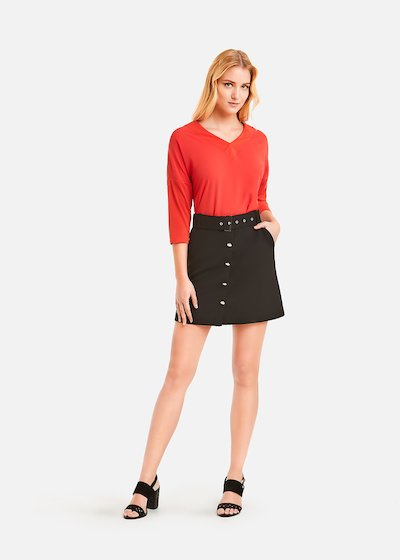 Gilda skirt with silver buttons - Black
