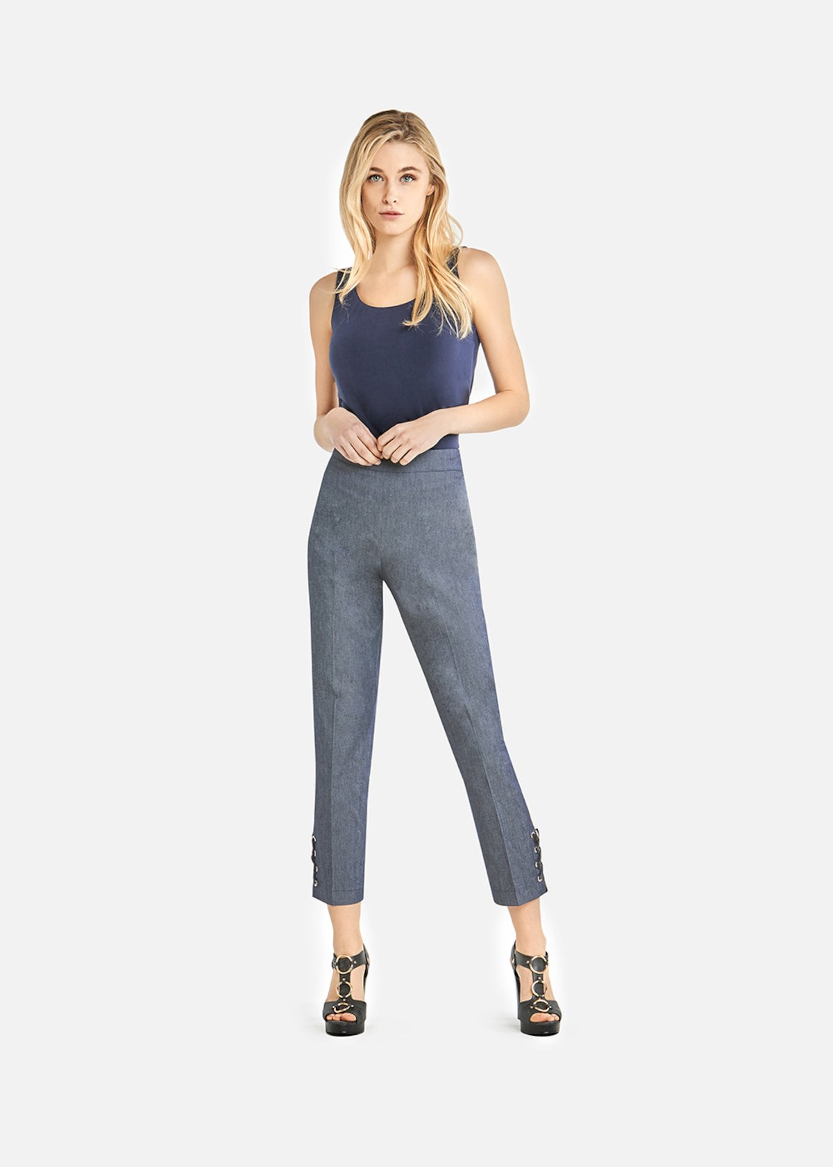 Power capri trousers with criss-cross detail on the bottom