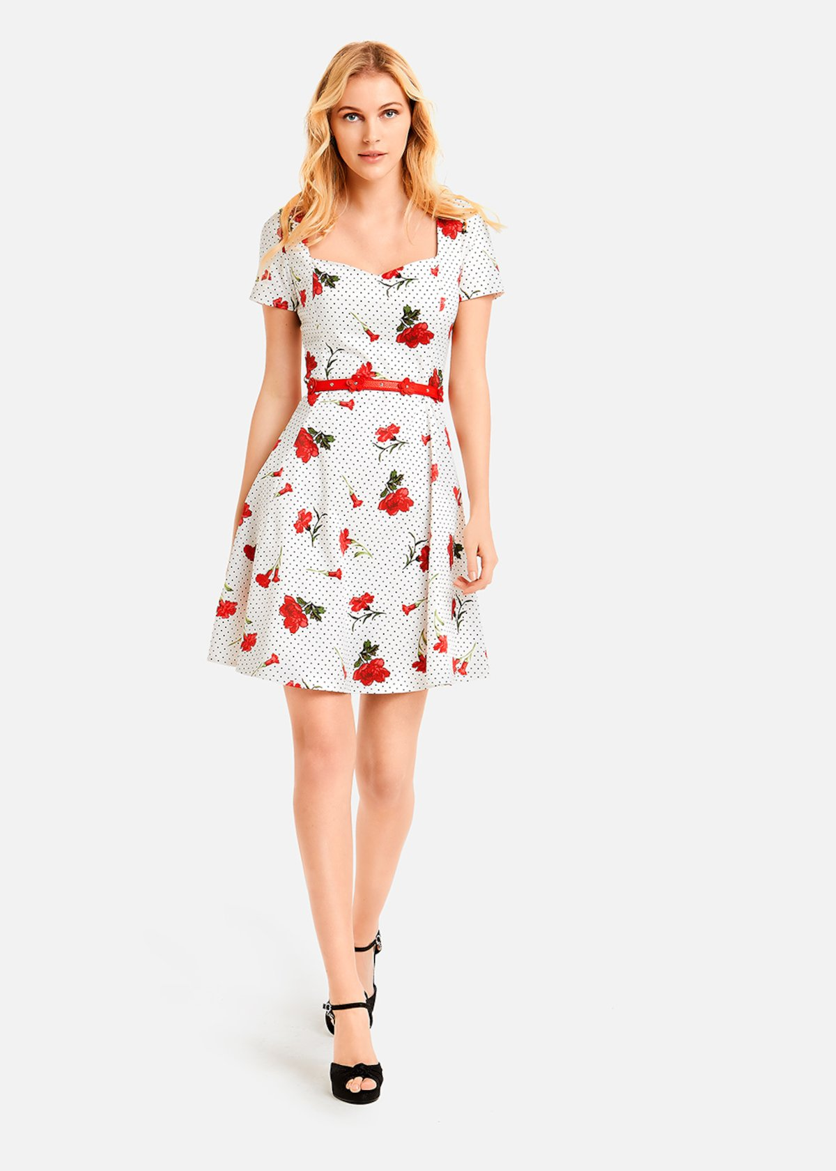 Agnese dress carnations and polka dots pattern - White / Rouge Fantasia