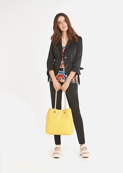 Grace two-button jacket with fabric bow at the bottom of the sleeves