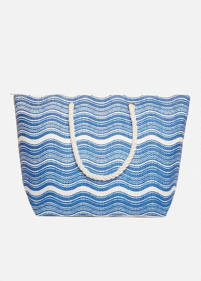 Shopping bag Brassa printed vawes with rope handles