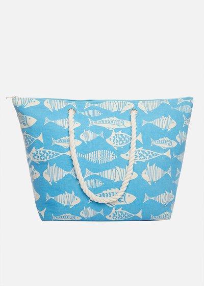 Shopping bag Binga fish printed con manici in corda