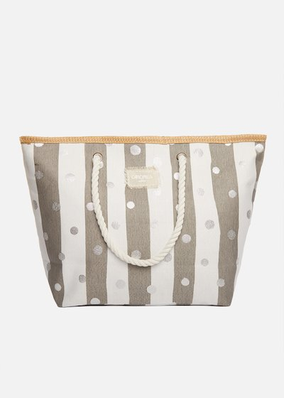 Basar shopping bag with stripes and micro polka dots, with rope handles