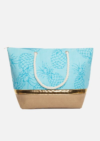 Shopping bag Brasilia pineapple printed with rope handles
