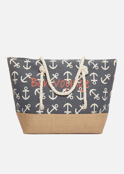 Shopping bag Bafia con ancore e manici in corda