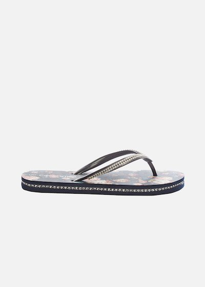 Cloe flip flops with micro-crystal detail