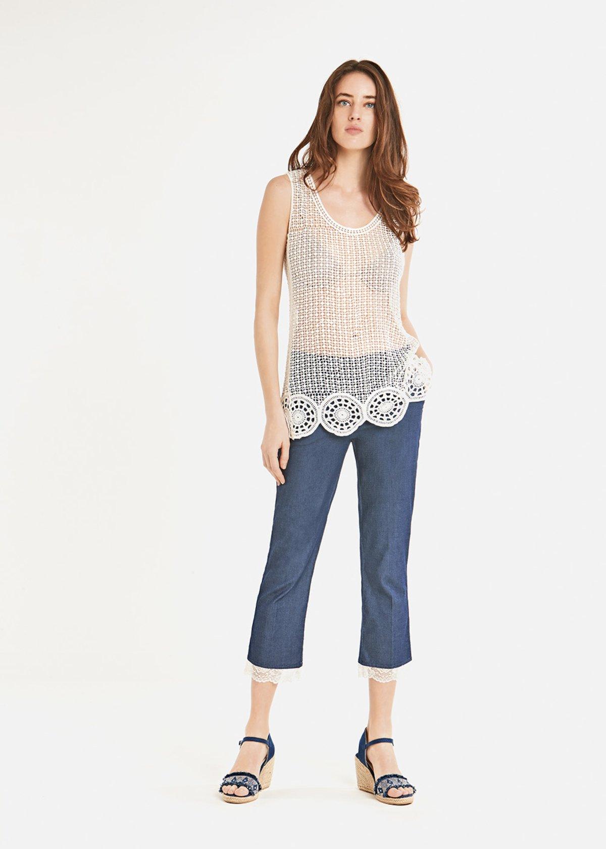 Top Twin con dettaglio crochet sul fondo - White
