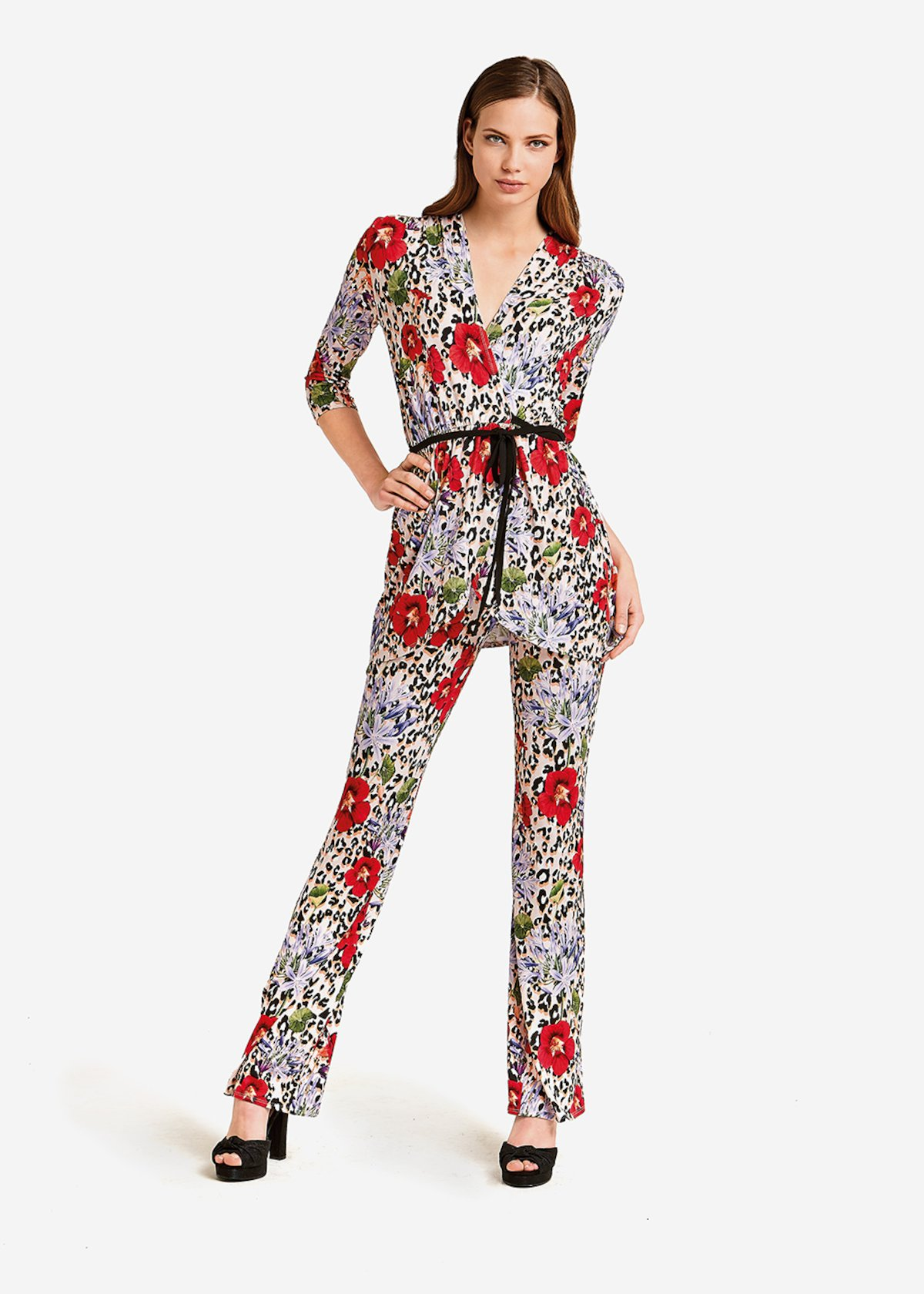 Priamo trousers Leopard print with roses - White / Rouge Animalier