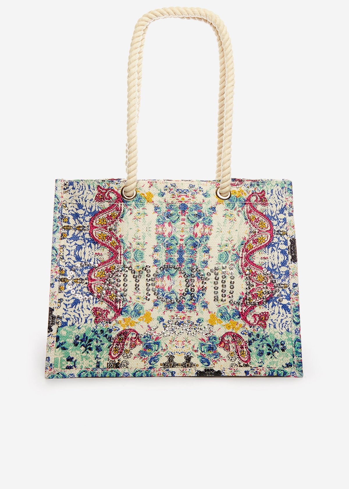 Juta bag Brizia India printed con logo di paillettes