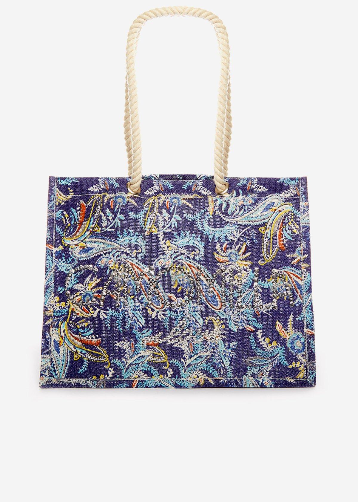 Juta bag Berena a stampa multicolor con logo di paillettes