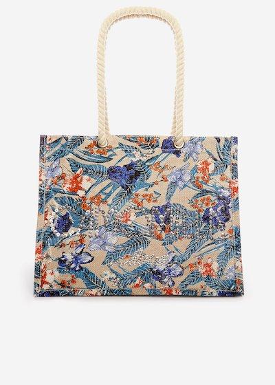 Juta bag Bamelia a stampa floreale con logo di paillettes