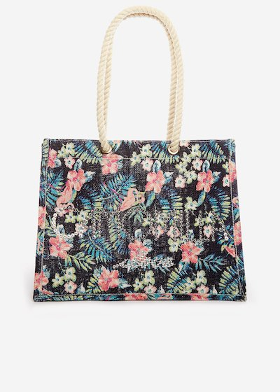 Batea Jute bag flamingo printed with sequin logo