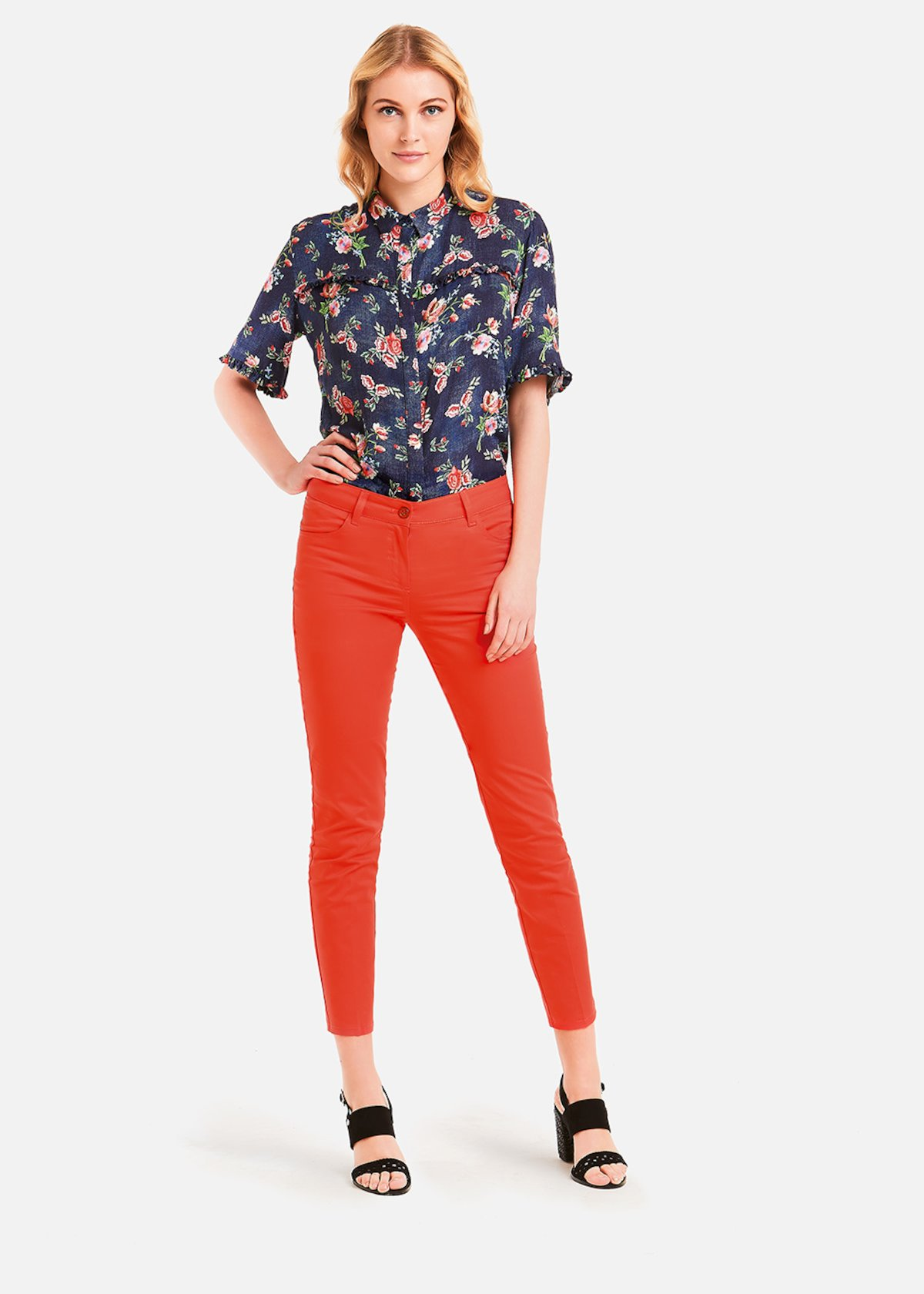 Cindy shirt with ruffles - Denim / Poppy Fantasia