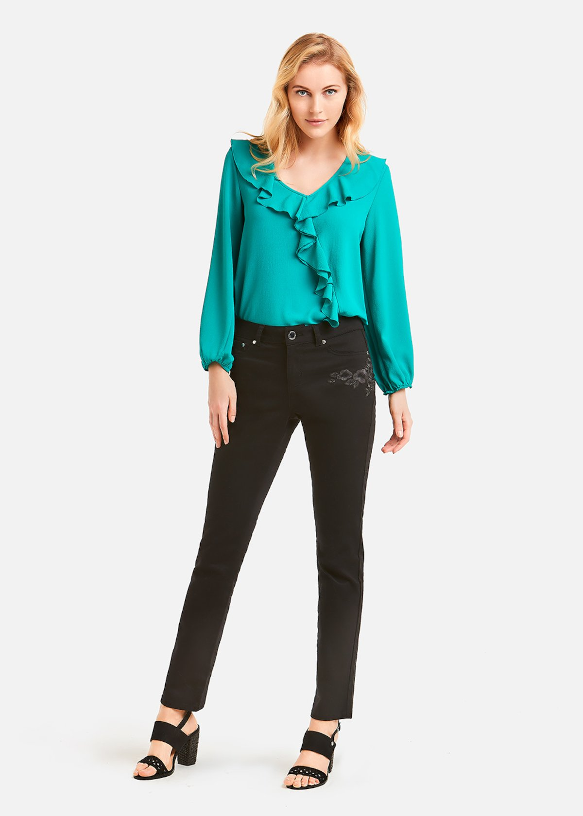 Cristine blouse with long sleeve - Emerald