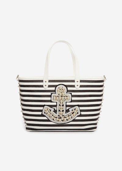 Shopping bag Bonnie a strisce con ancora di perline e tracolla removibile