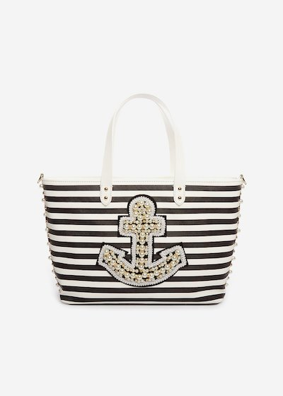 Bonnie Shopping bag striped with beaded anchor and removable shoulder strap