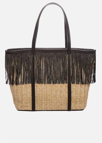 Shopping bag Bradley in raffia con frange di strass e tracolla removibile