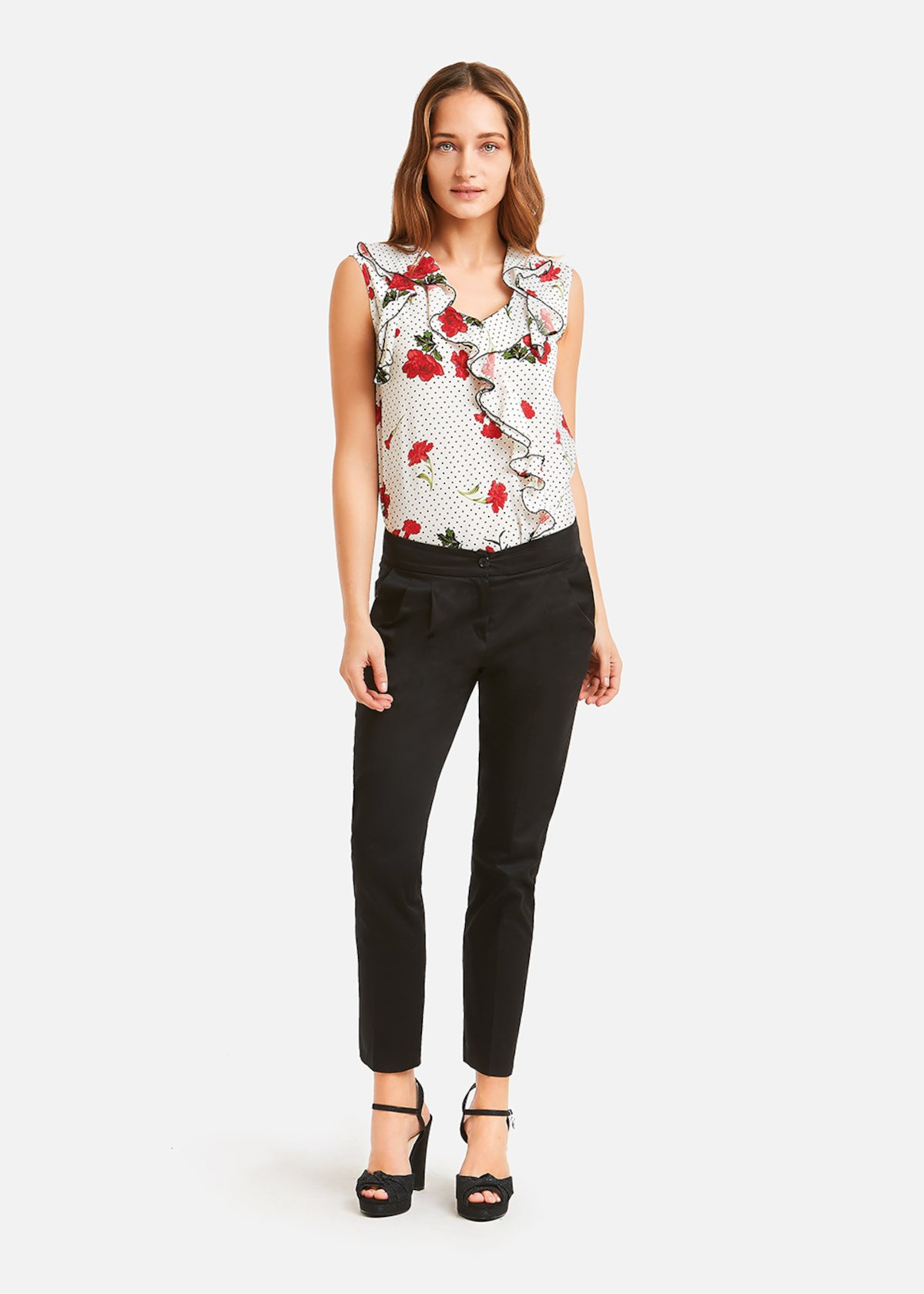 Top Thery with flowers and polka dots pattern - White Rouge  Fantasia