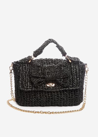 Paper straw Blaky clutch with maxi bow and chain - Black