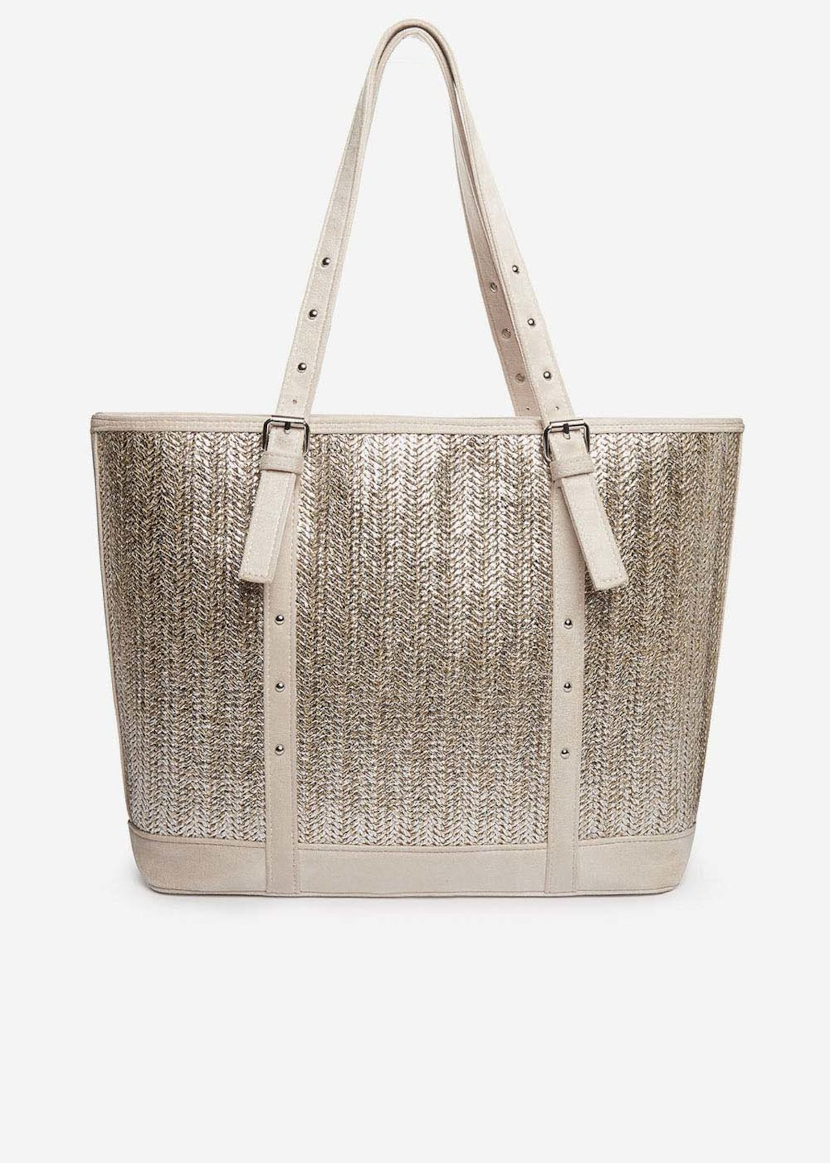 Shopping bag Brilliant in paglia silver - Light Beige