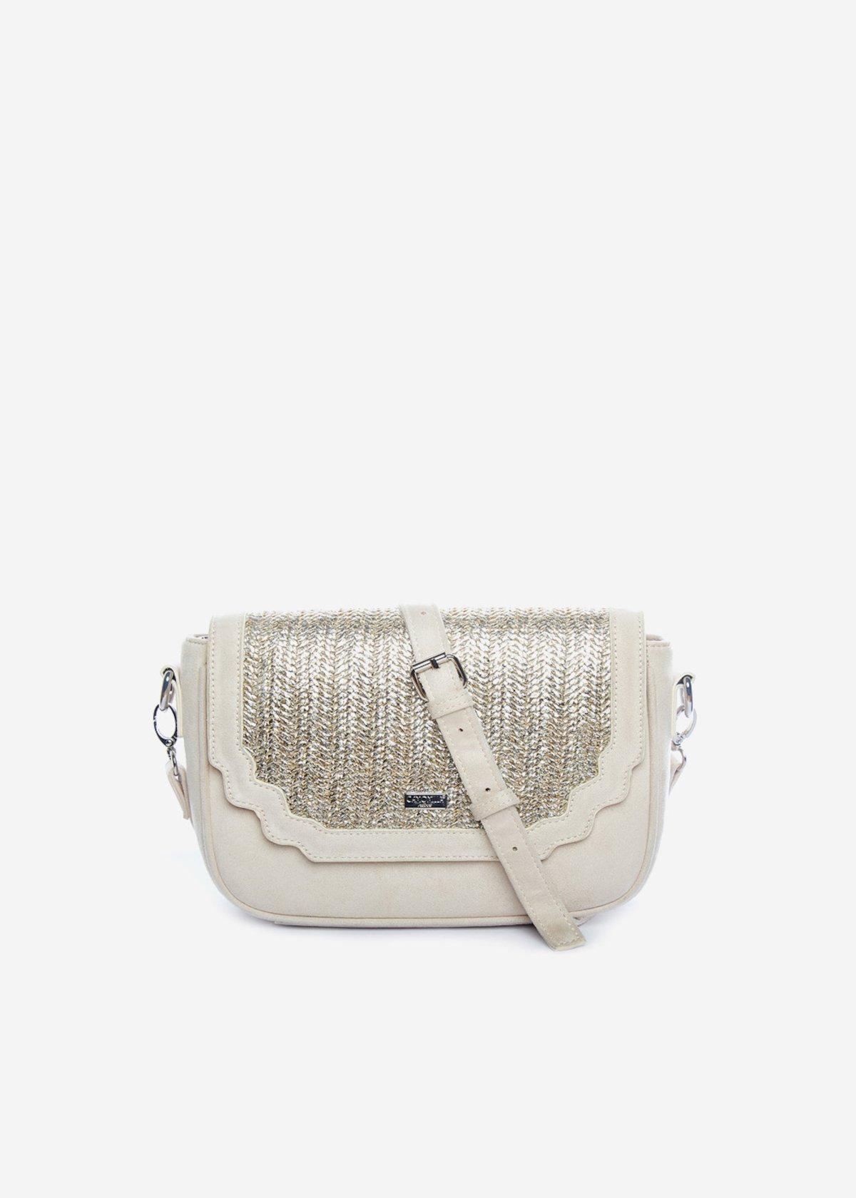 Handbag Bright con patta in paglia silver - Light Beige