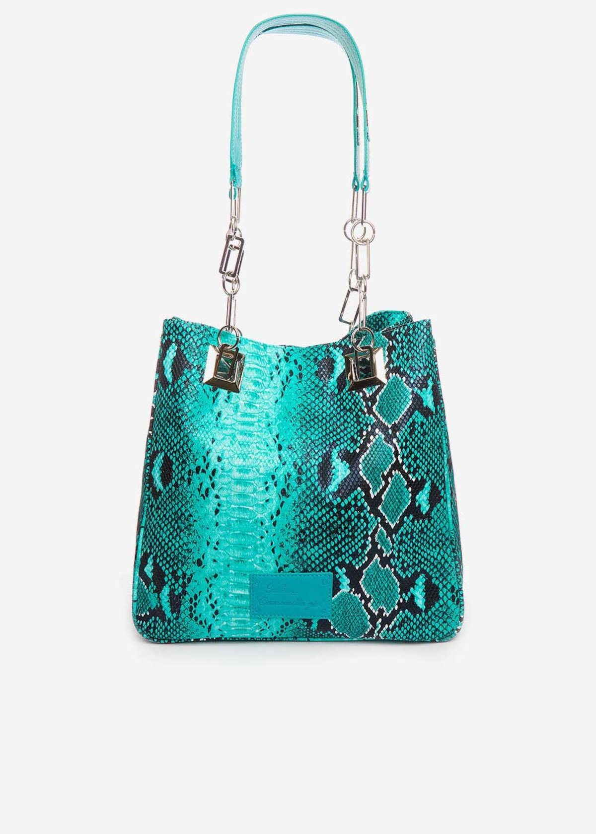 Shopping bag Minipiton con manici a catena ed ecopelle - Emerald Animalier