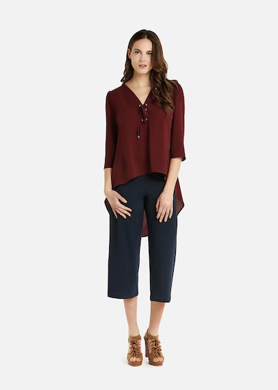 Clelia blouse with 3/4 sleeves and V-neck with criss-cross