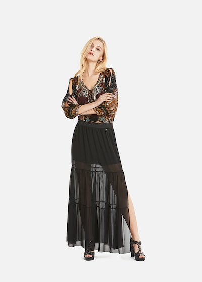 Georgie skirt in frilled georgette with slit