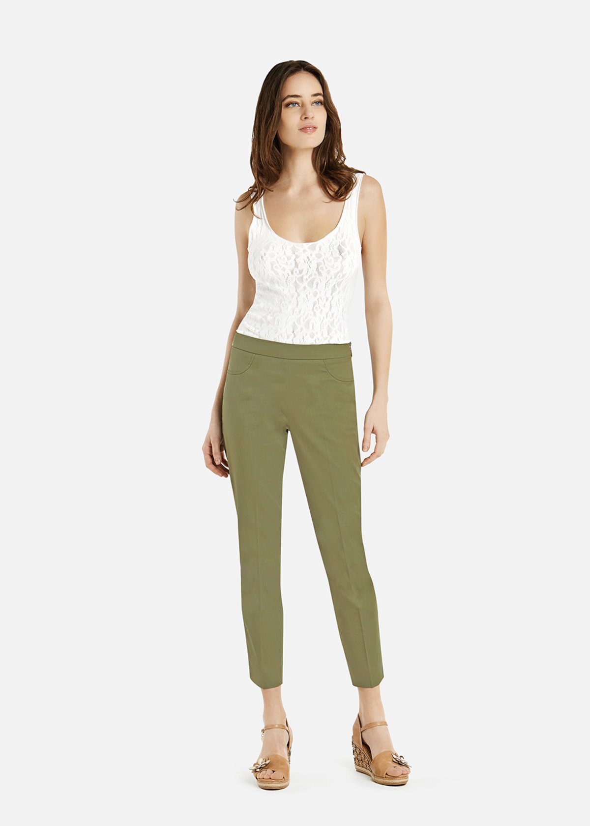 Piero4 equestrian style capri trousers with zip in tone