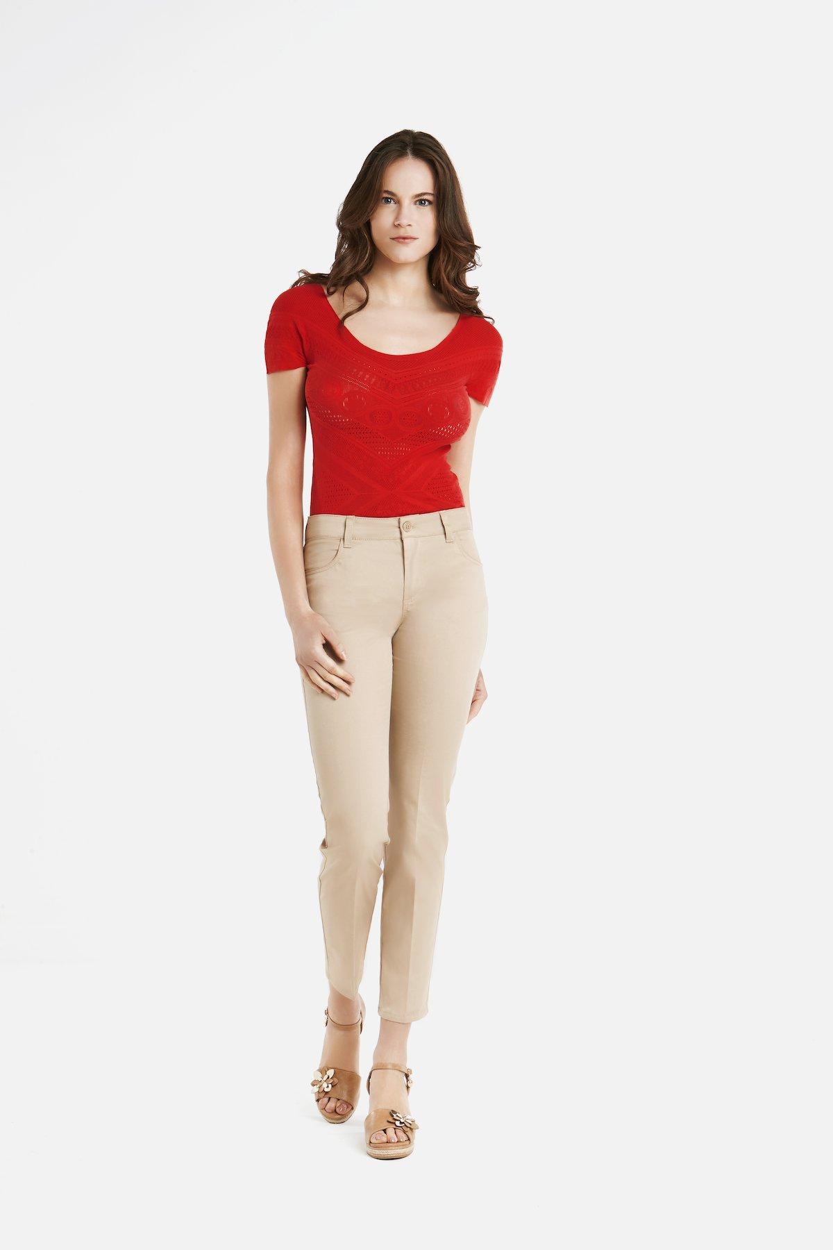 Pantaloni Kate 5 tasche a gamba stretta e corta