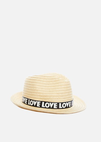 Paper hat natural colour Craig with love print band
