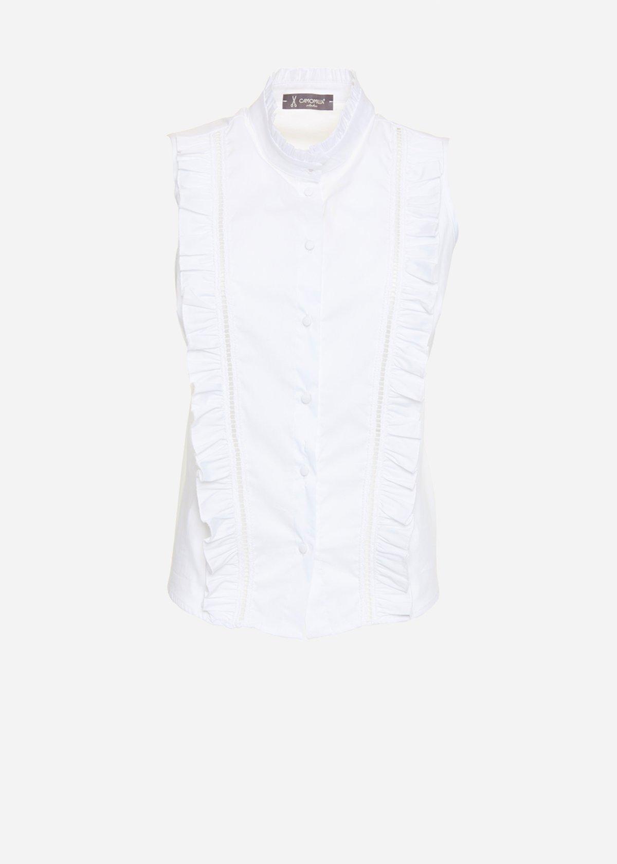 Camicia Catia in popeline con colletto alto e rouches