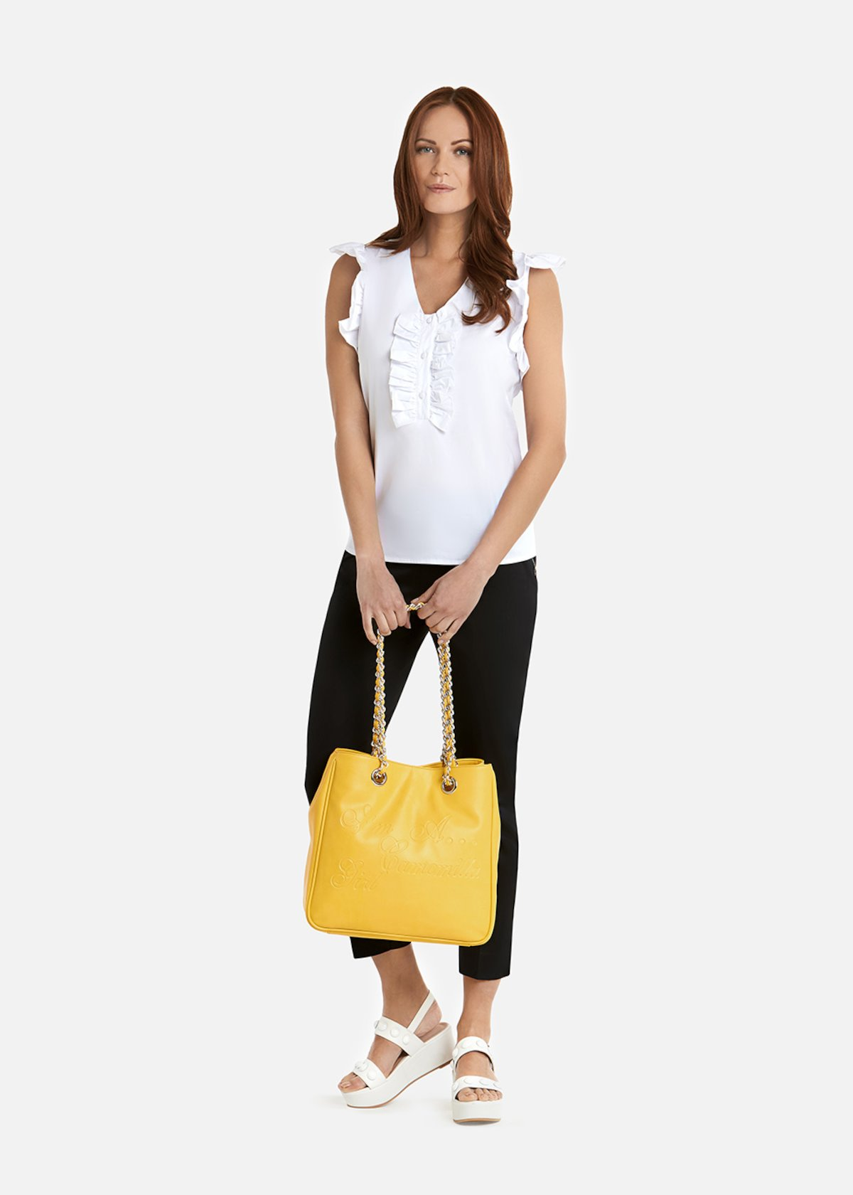 Candie poplin shirt with ruffles - White