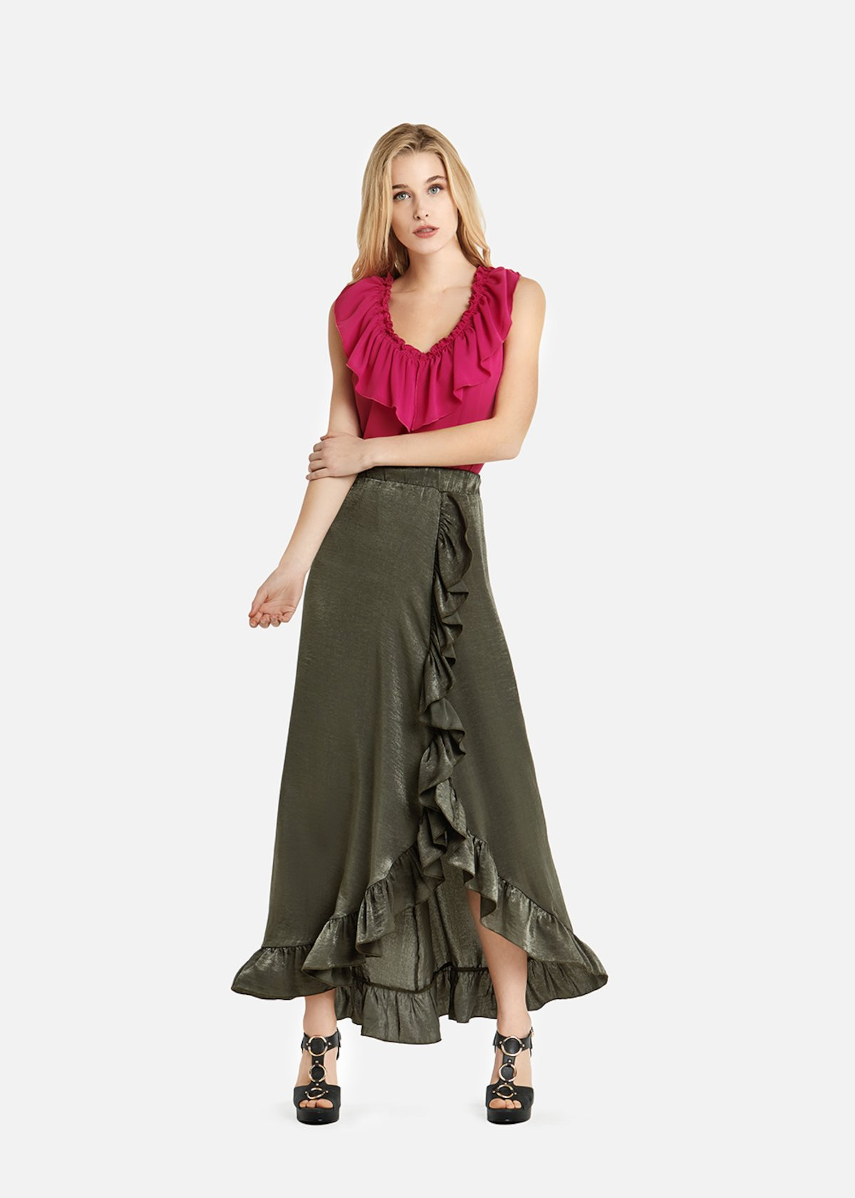 Gaia long georgette skirt with split and ruffles