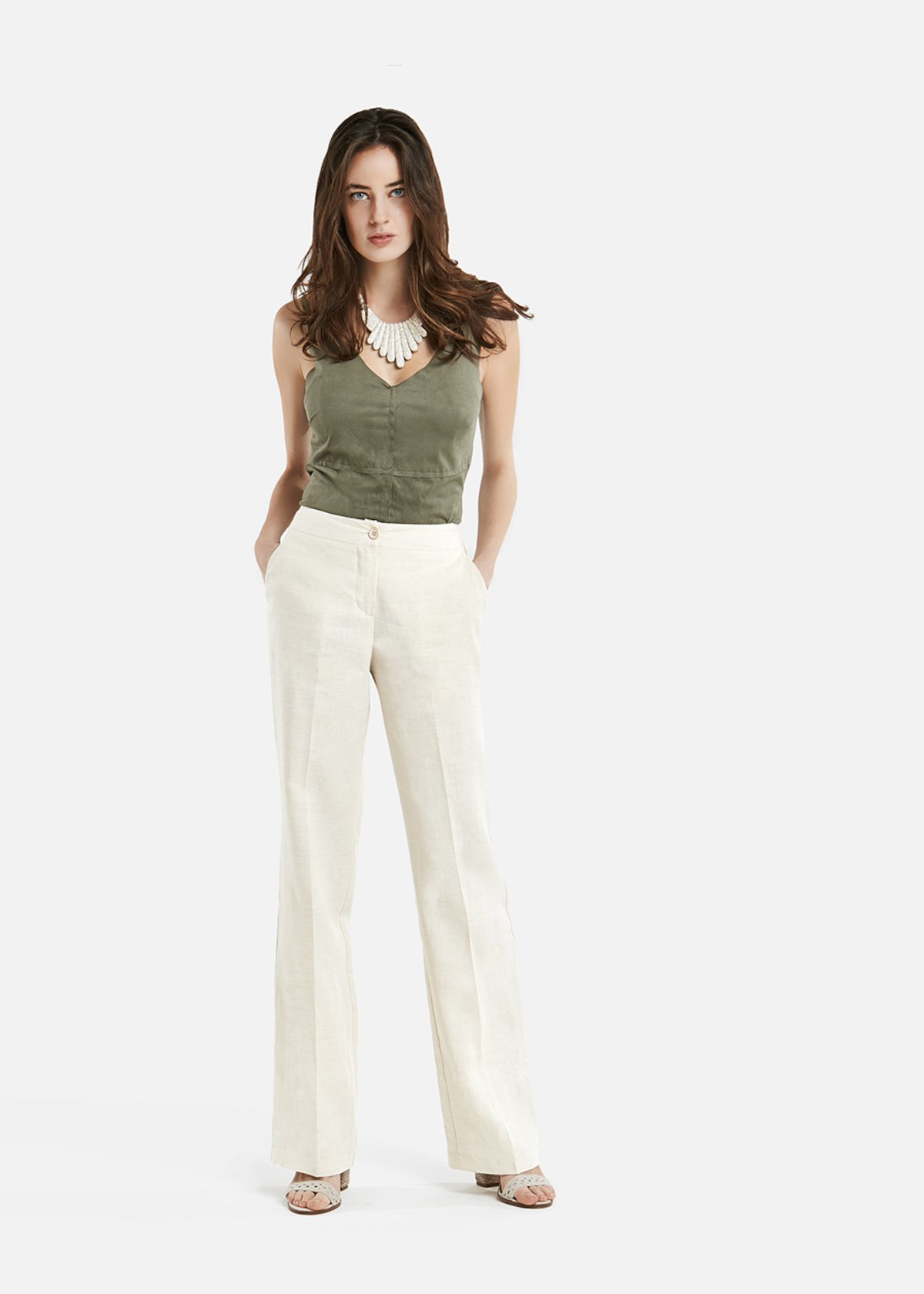 Pantaloni Paco in lino a gamba larga - Light Beige