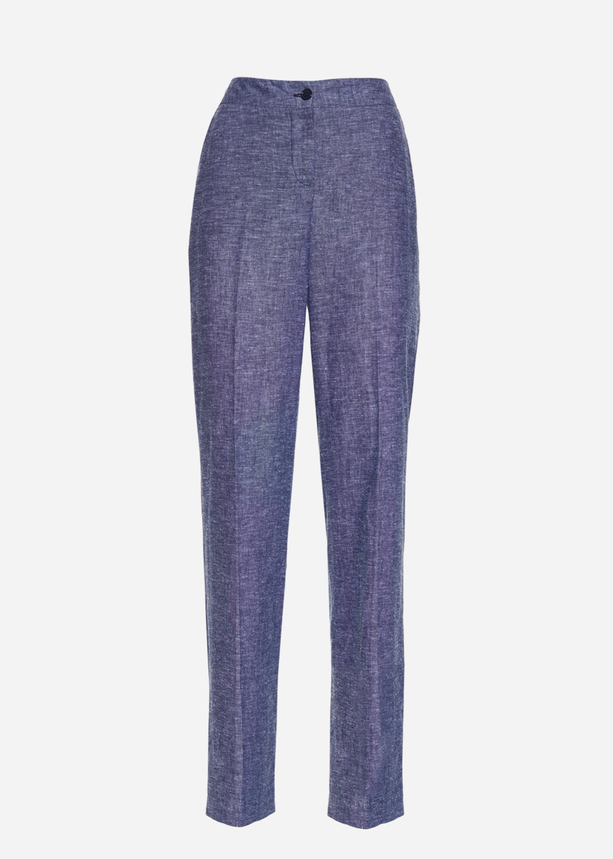 Patrik linen denim-effect trousers