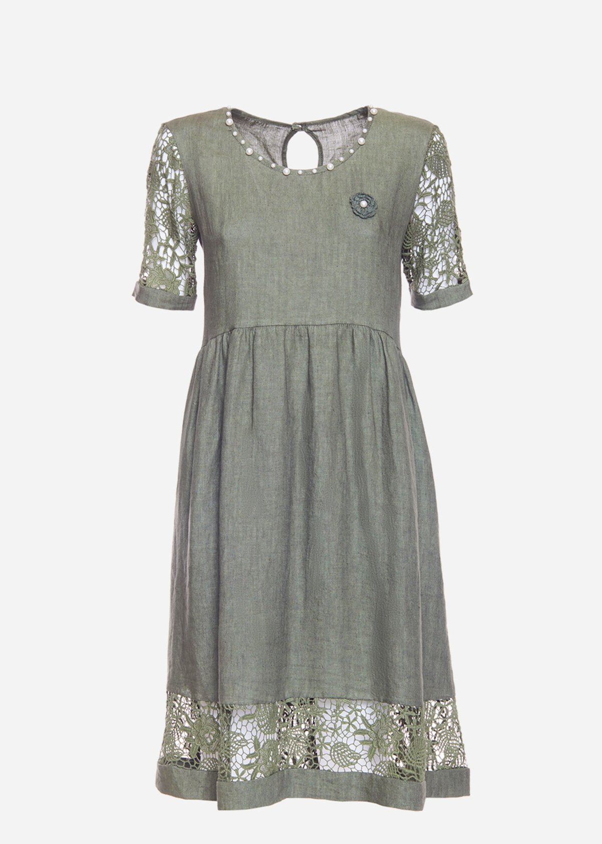 Alessio dress with macramé sleeves