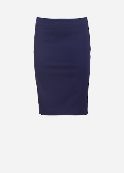 Goliath skirt in cotton gabardine with slit on the back - Medium Blue