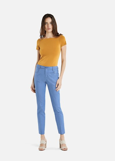 Solid color Sibilla t-shirt with shiffer neckline