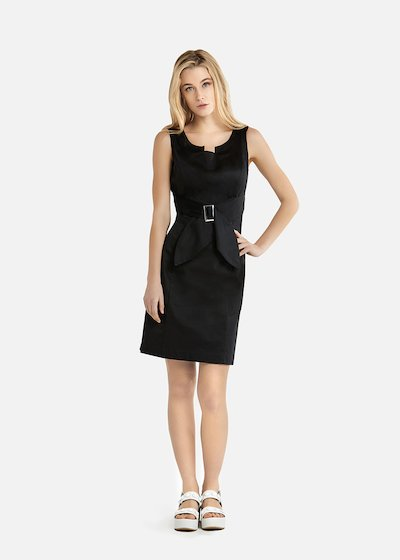 Ashley dress in cotton sateen with belt - Black