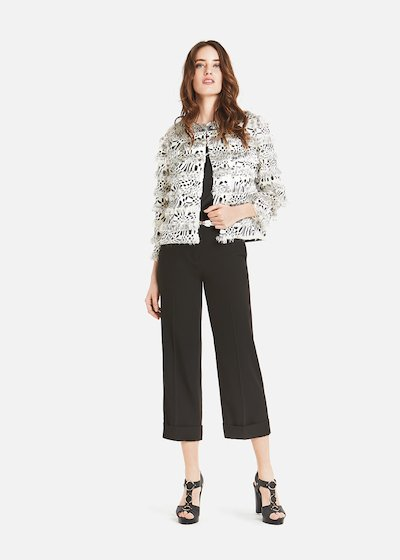 Marta floral and spotted cowl - White /  Black Animalier