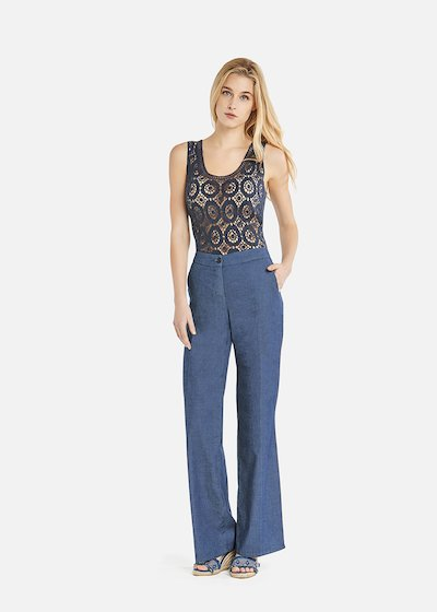 Portos trousers with wide leg in chambray
