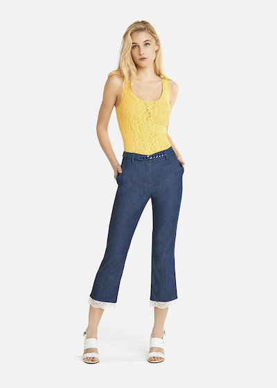 Perry capri trousers in dark chambray with a white lace insert on the bottom of the leg