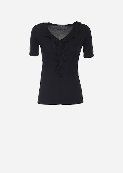 Soemi t-shirt with pleats on the neckline - Black