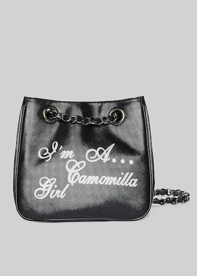 Mini-shopping bag Microsaff in ecopelle con manici a catena