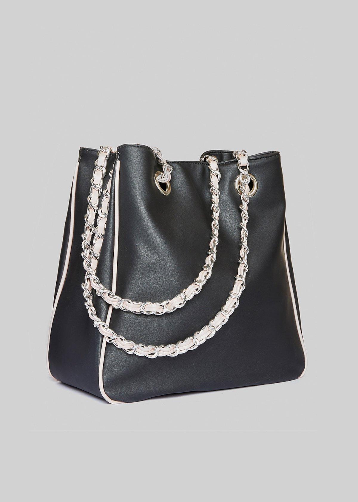 Minirubbe Rubber Satin Faux Leather Shopping Bag  e1127fdb8f3