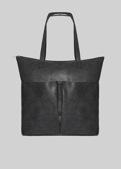 Baly faux leather shopping bag with 2 pockets on the front